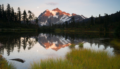 Poster Reflection Mount Mt. Shuskan High Peak Picture Lake North Cascades