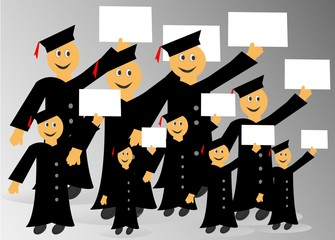 Personas graduadas con diploma en su mano