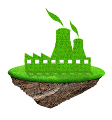 Small island with green Nuclear power plant icon