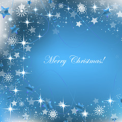 Blue christmas background with decoration