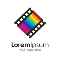 Seventh art love movie track icon simple elements logo