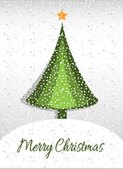 Merry Christmas card with graphic Christmas tree and snow
