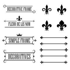 Set of vintage design elements, frames, borders and deviders