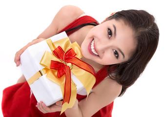 Beautiful Asia woman wear Santa Clause costume