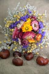 Herbstliche Dekoration aus Strohblumen und Kastanien