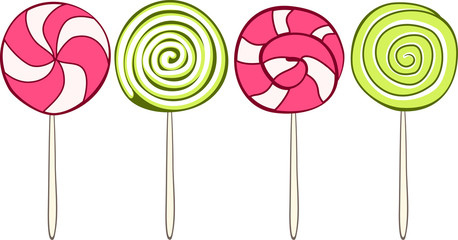 Set of colorful lollipops hand drawn style. Vector