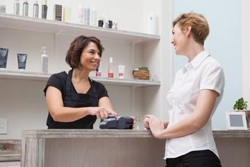 Hairdresser using credit card