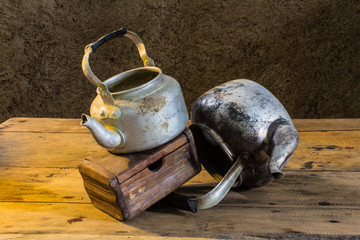 still life old classic kettle with Old chest