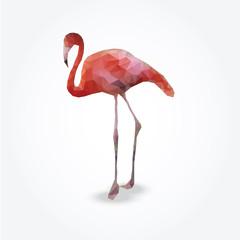 Modern polygon illustration of flamingo, vector