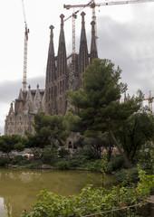 Tourists visiting the Sagrada Familia