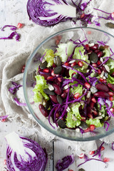 mixed salad on bowl with red beans, seeds and purple cabbage