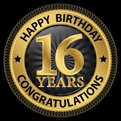 16 years happy birthday congratulations gold label, vector illus