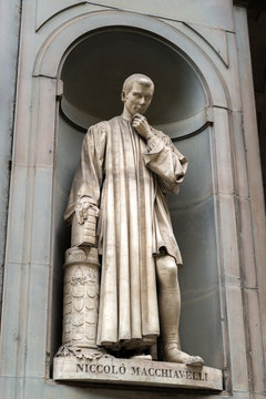 Niccolo Machiavelli statue at Uffizi Gallery, Florence, Italy