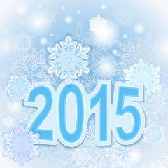 Christmas 2015 year blue snowflake vector card.