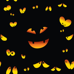 eyes in the dark with a scary pumpkin