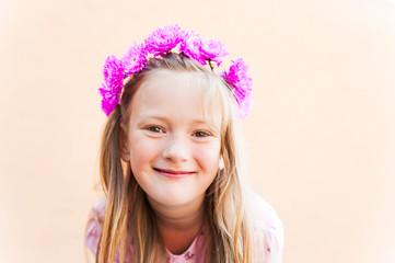 Outdoor portrait of adorable little girl