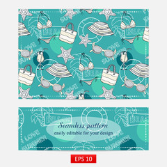 Summer pattern, design with themed elements