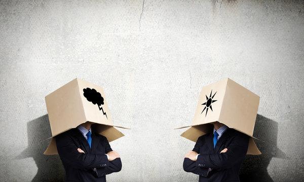 Man with box on head