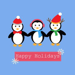 Penguins and banner for Happy Holiday