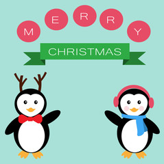 Penguins  and banner for Merry Christmas