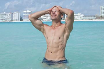 Sexy man in sea
