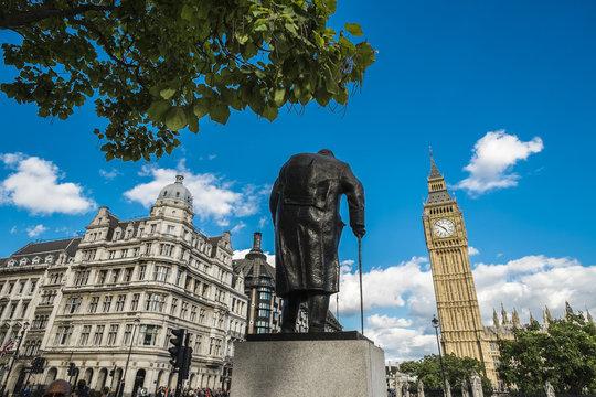 Statue of Winston Churchill Westminster England