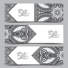 Set of three grey horizontal banners with decorative ornamental