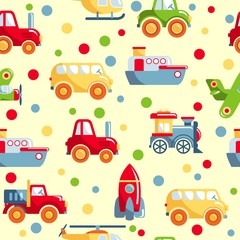 Seamless pattern with different kind of toys transport
