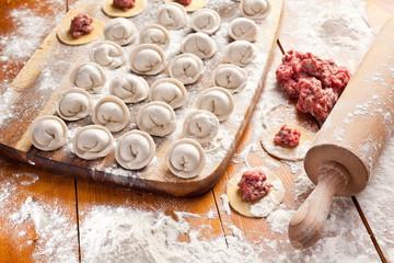 Dumplings. Cooking process.