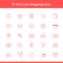 Set of Thin Line Stroke Shopping Icons
