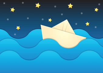 Paper boat on paper sea and night sky background