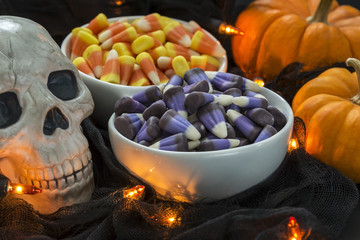 Bowl of candy corn in a Halloween theme