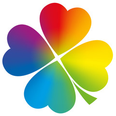 Four Leaved Clover Rainbow Gradient White