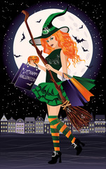 Halloween sale. Urban redhair witch with shopping bags
