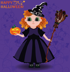 Happy Halloween. Little girl witch and pumpkin card