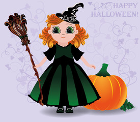 Happy Halloween. Cute little witch and pumpkin background
