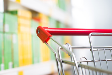 Supermarket trolley at store