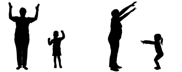 Vector silhouette of woman and child.