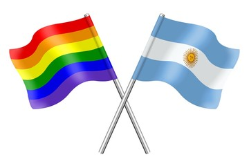 Flags: rainbow and Argentina