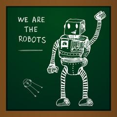 Vector chalk draw robot on blackboard. Eps10