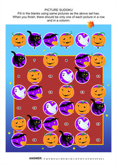Picture sudoku puzzle, Halloween themed