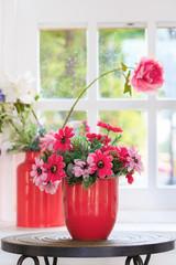 red vase flower