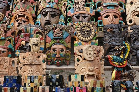 Muliticolored Maya masks - souvenir stall - Chichen Itza – Mexico