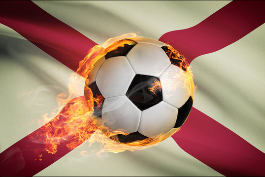 Soccer ball with flag on background series - Alabama