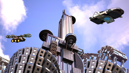 Futuristic city with surveillance drones