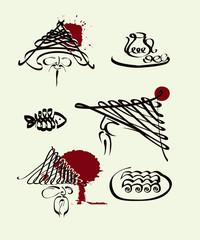 Design set for Japanese cuisine.