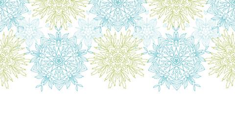 Vector abstract plants mandalas horizontal border seamless