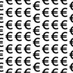 Euro symbol seamless pattern on white