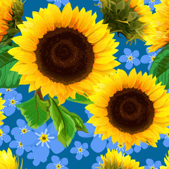 seamless pattern of sunflowers with forget-me-not flowers