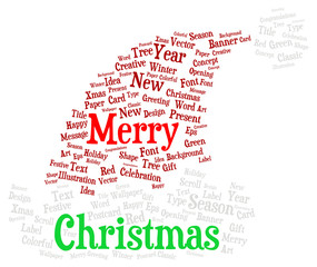 Merry Christmas word cloud in a shape of a christmas hat